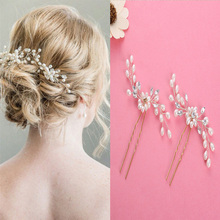 Women Wedding Handmade Hairwear Pearls Shape Hairsticks Hairpins Hair Jewelry Fashion Bride Head Accessories 2 Pieces/Pack