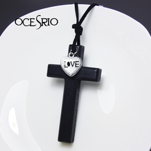 Cheap Jewelry DIY Necklaces Vintage Coffee Black Wood Cross Heart LOVE Necklaces & Pendants Leather Chain Men Necklace nke-m42