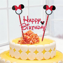1Pcs Mickey Minnie Mouse Cake Topper for Kids Happy Birthday Party Decoration Supplies Baby Shower Party Decoration