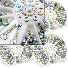 1 Wheel 5 Sizes White Multicolor DIY Nail Art Tip 3D Decor Glitter Rhinestones