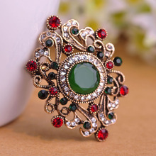 Brand Turkish Jewelry Green Round Acrylic Brooch Women Hats Pins Hair Accessories Austrian Crystals Corsages Vintage Blue Brooch(China)
