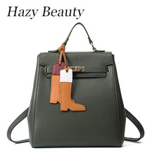 Hazy beauty New Pu leather women backpack super chic buckle open stylish lady hand bags good quality girls school bags  DH625