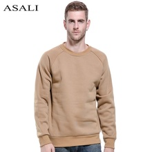 ASALI Thick Sweatshirts Men Hoodies USA SIZE Winter Warm Pullover Streetwear Round Collar Sportswear Solid Color Fleece Couples(China)