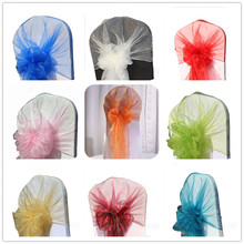 Wholesale 100pcs Sheer Organza Chair Cover Hoods Wedding Chair Caps Tie Back Chair Bow Sashes For Hotel Event Party Decoration