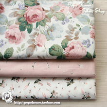 1 pcs 160x50cm / 3pcs 50x50cm Rose Manor Twill Cotton Cloth Dress Skirt Baby Clothes Garment diy bedding apron fabric(China)