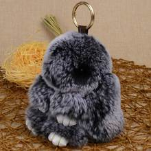 Chanfar 13CM Bunny Pendant Keychain Real Rex Rabbit Fur Keychain Fluffy Toy Doll Bag Car Charm Key Ring Jewelry For Women(China)