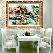 Ручной работы из хлопка Нитки Счетный крест Вышивка Комплект Рукоделие рукоделие сельской местности коттедж Домашний Декор(China)
