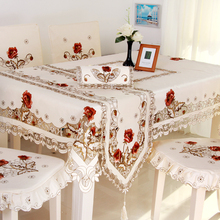 HBZ3 flower tablecloth table runner cover cloth Lace dining pastoral beige beautiful pink rose red floral fabric rectangle
