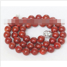 "FREE SHIPPING>>>natural 17"" 10mm round red sponge coral beads necklace"