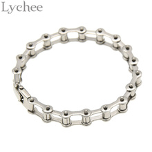 Lychee Cool Titanium Steel Biker Bicycle Motorcycle Chain Bracelet Bangle Jewelry for Men Women