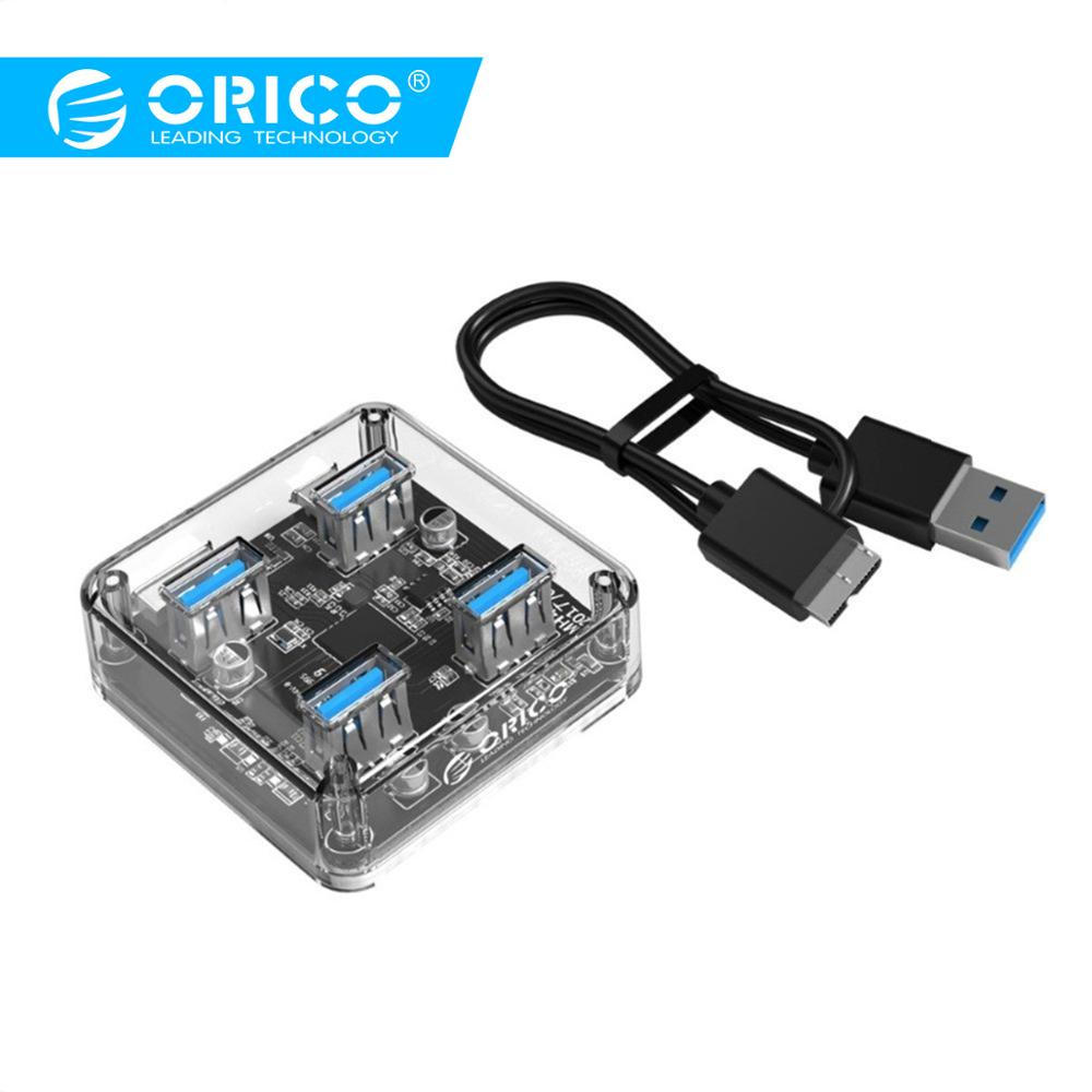 ORICO USB 3.0 Transparent 4 Ports Super Speed Hub Adapter for Laptop Macbook HDD