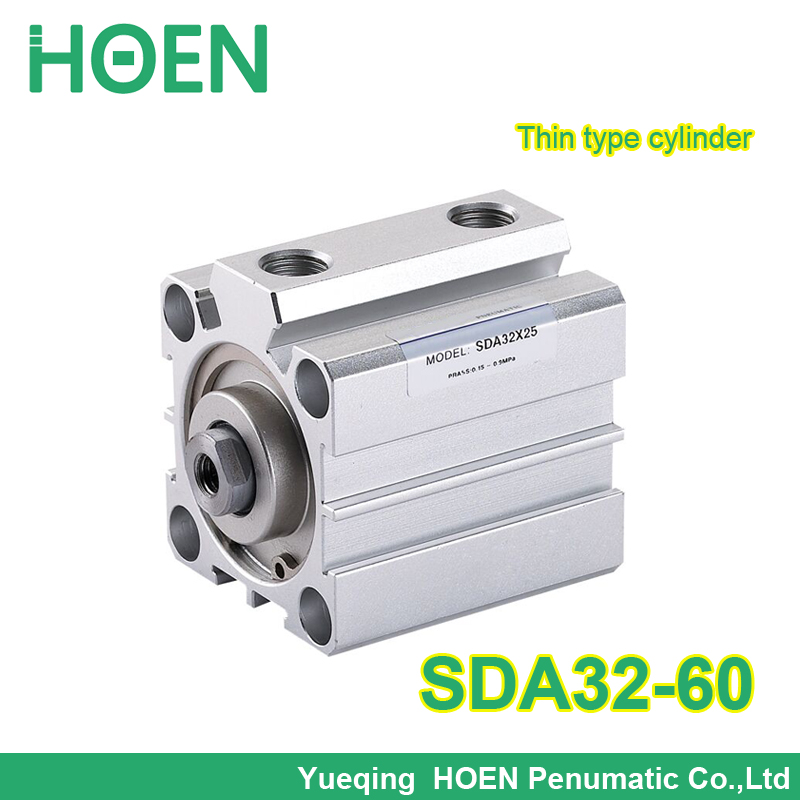 5 pcs SDA32-60 1/8 Port Pneumatic Compact Air Cylinder Thin Type Cylinders SDA32*60 Aluminum Alloy with 32mm bore 60mm stroke<br><br>Aliexpress