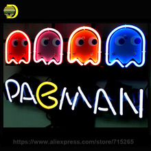 "NEON SIGN For PACMAN GAME Signboard REAL GLASS BEER BAR PUB display RESTAURANT outdoor Light Signs VD 17*14"" Decorate Windows"