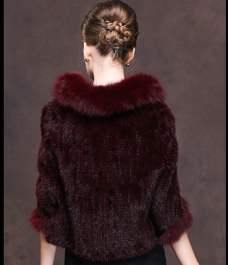 Winter Shawl Wrap Poncho Real Knit Mink Fur shawl With Fox Trimming Real fur Jacket coats party 2017 new (29)