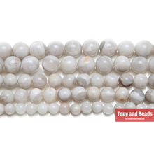 9th Aug Free Shipping Natural Stone White Crazy Agata Round Loose Beads 4 6 8 10 MM Pick Size for Jewelry Making