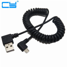Buy 90 degree right double elbow micro usb male charge data cable bend left retractable spring line Samsung Android Mobile phone for $1.43 in AliExpress store