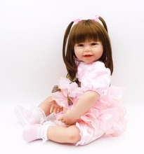 "Large size 24"" DollMai reborn babies silicone dolls for kids birthday present xmas gift bebe play house toys bonecas"