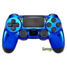 Chrome Blue Edition Front Housing Shell Faceplate Cover for PS4 Slim & for PS4 Pro Controller - JDM-040 JDM-050 JDM-055(China)