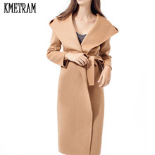 Brand European Style Hand Made Double Side Cashmere Woolen Cloth Coat Super High Quality Autumn Winter Jacket Women Camel YJZ097