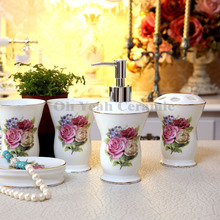 Porcelain bathroom sets ultra-thin super white bone china fowers design five-piece set accessories bathroom sets wedding gifts(China)