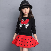 2017 Children's New Spring and Autumn Girls Long Sleeve Shirt+skirt Two Sets of Girls Black Red 2pc Sets 3-10 Ages(China)