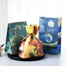 "3 pcs 21*18*8cm ""encounter Van gogh ""series Paper bag with stickers Best Gift Bags for Wedding Party Candy Food Packaging bags"