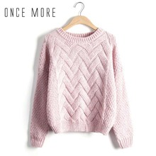 Women Girls Thick Winter Warm Lady Knitted Sweater Tops Loose Solid Color Casual Knitting Pullover Tops(China)