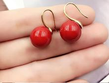 women Jewelry Earring 10mm Bright red round ball natural sea shell Pearl Dangle gold color hook Earring
