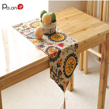 chinese classical linen table runner sunflower printed kitchen table cover party wedding decoration home textile free shipping