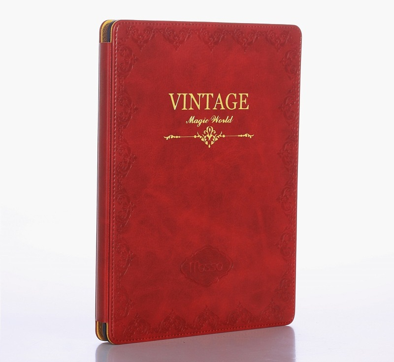 red vintage leather smart cover case for ipad 2018 9.7 inch case