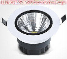 Dimmable CREE 9W 12W 15W COB LED Downlights Tiltable Fixture Recessed Ceiling Down Light Lamp AC85-265V Warm-Cool-Natural White(China)