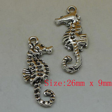 20pcs/lot 26*9mm  antique silver plated sea horse charms for DIY bracelet & necklace