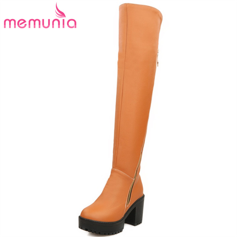 MEMUNIA Over the knee boots for women PU zipper platform shoes woman autumn winter fashion boots sexy lady big size 34-43<br>