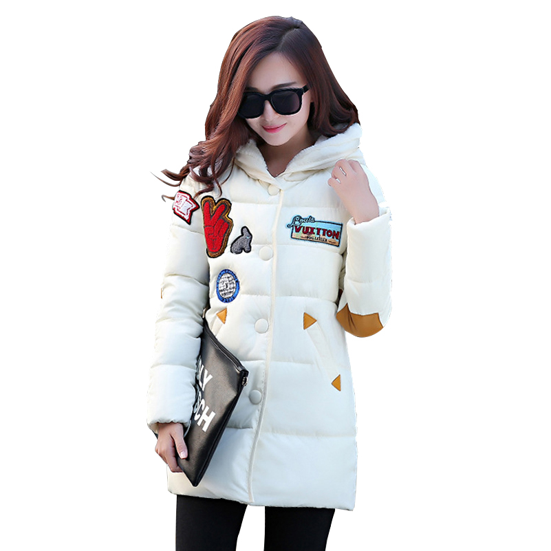 White Cartoon Long Women Winter Coat Cotton Thick Lovely Hooded Warm Button Red Coat Fashion Hot Pockets Parkas Size M~2XLОдежда и ак�е��уары<br><br><br>Aliexpress