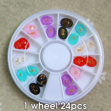 latest Japanese nail wheel charm nail art Gold Foil inside Oval Resin Rhinestone mix colors 24pcs 6 colors gold foil oval(China)