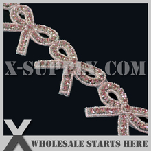 Pink Bow Design,Rhinestone Applique Trimming for Home Decor,Headbands,Baby Decorations,Bulk Wholesale