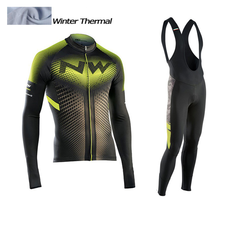 NW Winter Thermal Fleece Cycling Jersey Long Sleeve Jerseys Cycling Bib Pants Set Bike Bicycle Cycling Clothes 3 Color<br>