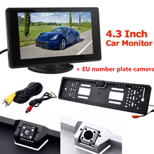 Car Rear View Backup Reverse Camera Waterproof with EU European License Plate Frame + 4.3 inch LCD Auto Rearview Parking Monitor