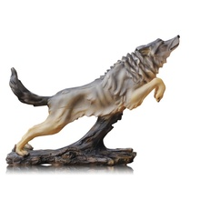 Vivid Wolf Sculpture Handmade Resin Wildlife Statue Handicraft Embellishment Accessories Furnishing for Home and Office Decor