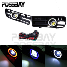 New Hot Auto Car Parts Replacement LED Running Fog Lights 3 Color Angel Eyes Front Grilles Decoration For VW GOLF MK4 1998-2006