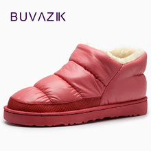 2017 women's winter snow boots warm plush down waterproof ankle boot woman low heel casual shoes botas feminnina big size 42 43(China)