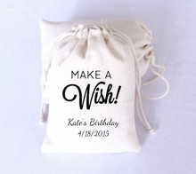 "50pcs Black Printing ""Make a Wish"" Happy Birthday Personalized Favor boxes Gift Bags Wedding Favor Candy Bags Party Decoration(China)"