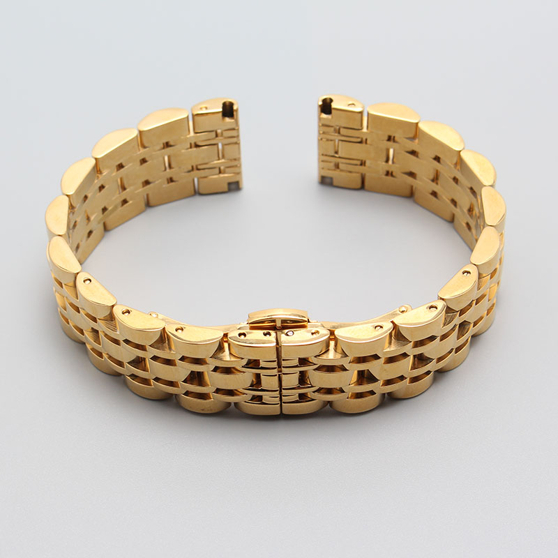 Gold color Watchbands Stainless steel metal Watch Strap bracelet 14mm 16mm 18mm 20mm 22mm for luxury watch straight end men hour<br>