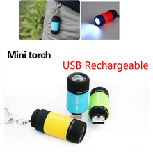 5PCS /lot Portable Mini Flashlight Keychain Key Chain USB Rechargeable Pocket Torch Light Lamp Outdoor Mini Flashlight Gift(China)