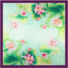90cm*90cm New Pattern Hangzhou West Lake China Wind In Lotus Ma'am Will Kerchief Women Polyester Silk Flowers Design Satin Scarf