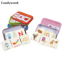 toys Montessori English shape learning card early education pairing puzzle children's game toys children's gift iron box(China)
