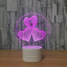 Useful 3D Speaker Night Lamp Off Bluetooth Speaker USB Music Color Changeable LAMP Starter Lamp I LOVE YOU