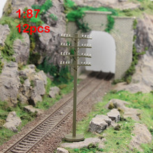 GY19087 12pcs Model Train Railway Flat telephone poles 1:87 Scale HO wire NEW