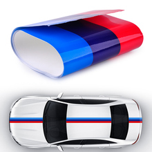 CITALL 2Mx15cm Car Auto Hood Roof Fender M-Colored Power Flag Stripe Sticker Decal for BMW 1 2 3 4 5 7 Series Q5 Q7 X1 X3 X5 X6(China)