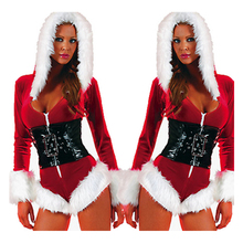 Hot Sale Sexy Lingerie Christmas Costumes Women Santa Claus Cosplay Dress Long Sleeve Exotic Underwear Nightdress